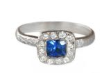 Blue Sapphire Cushion Halo Ring