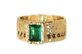 Custom Emerald and Garnet Ring