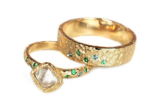 Custom Rough Diamond Wedding Set
