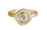 Free-form Rough Diamond Halo Ring