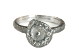 Raw Diamond Asymmetrical Halo Ring