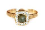 Raw Diamond Cushion Halo Ring