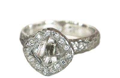 rough diamond halo ring