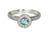 White-Aquamarine-Halo-Ring