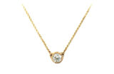 Gold necklace with a diamond solitaire made in Canada