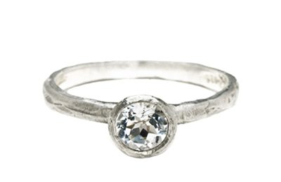 organic white gold diamond engagement ring