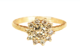 unique engagement ring with champagne diamonds handmade in Toronto Canada