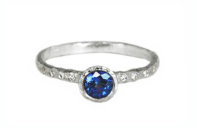 Blue Sapphire Unique Engagement Ring