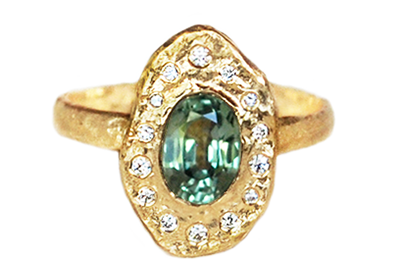 Green Sapphire Diamond Halo Ring by Anouk Jewelry