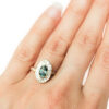 organic ring free form green sapphire halo with diamonds
