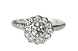 White gold engagement ring made in Toronto, Canada