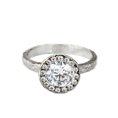 unique diamond halo ring, sustainable design