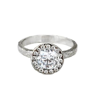 unique diamond halo ring, sustainable design