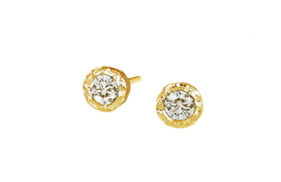 Hammered Gold, Diamond Studs
