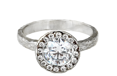 Diamond Halo Engagement Ring by Anouk Jewelry