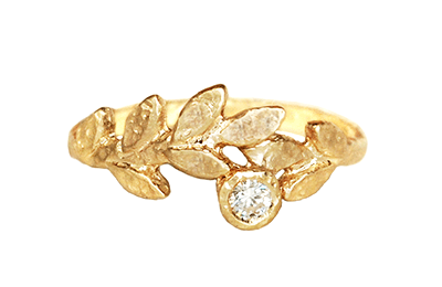 gold leaves band with diamond