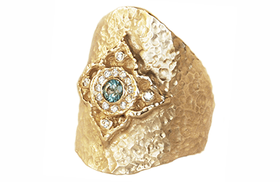 Wide right hand gold statement ring