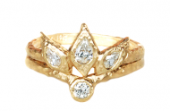Bohemian engagement and wedding ring set