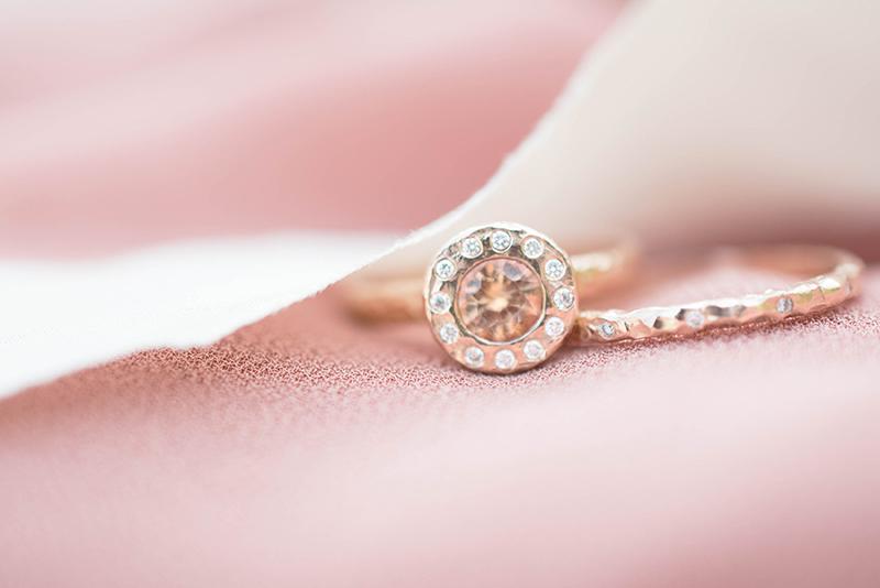 peach sapphire halo ring