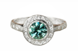 Unique Teal Sapphire Diamond Halo Engagement Ring