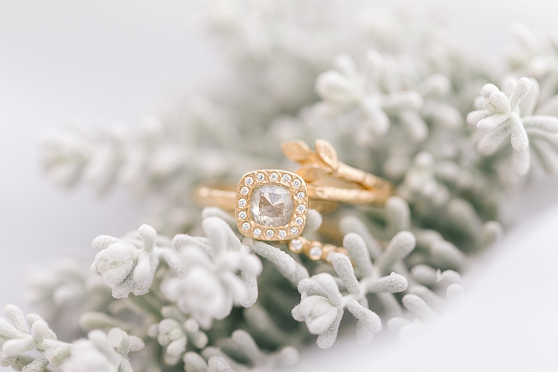 Hand made diamond engagment ring and unique gold wedding band