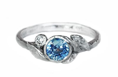 Unique blue sapphire engagement ring made in Canada