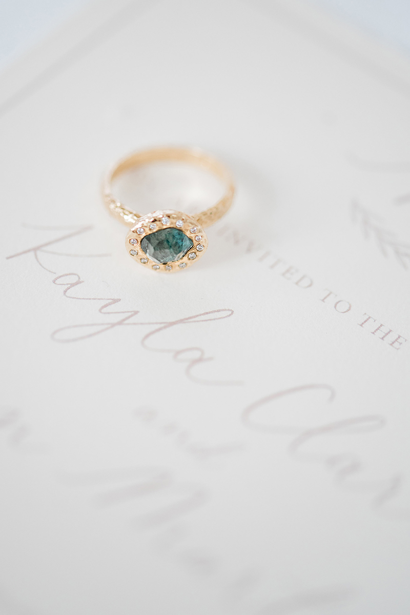Free form sapphire halo ring
