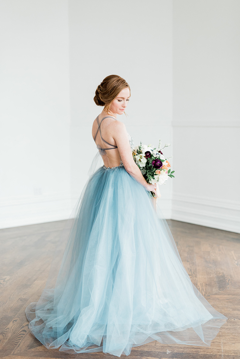 Alternative wedding inspiration, blue wedding gown