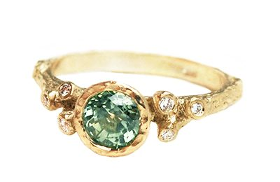 Green sapphire alternative engagement ring
