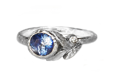 Blue Sapphire Leaves Ring