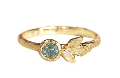 Boho blue sapphire engagement ring with golden leaves
