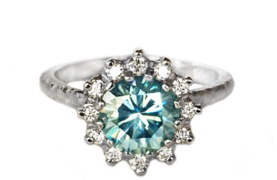 Blue moissanite engagement ring