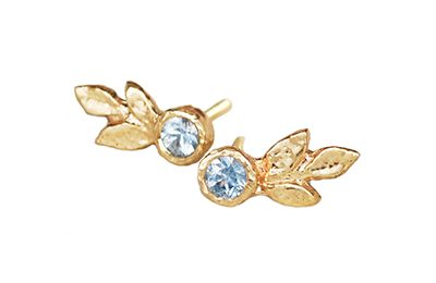 gold leaf earrings with blue sapphires