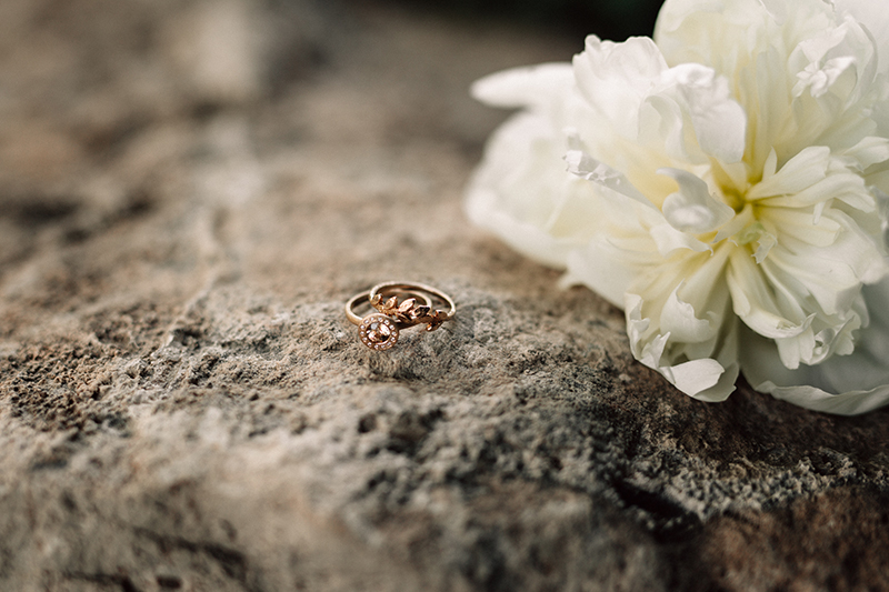 Alternative champagne sapphire halo ring with leafs band