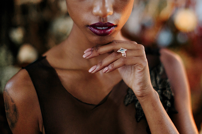 blue sapphire boho engagement ring with diamonds
