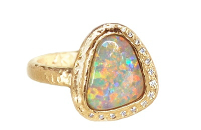 custom opal and diamond halo ring