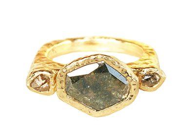 custom ring with a diamond slice