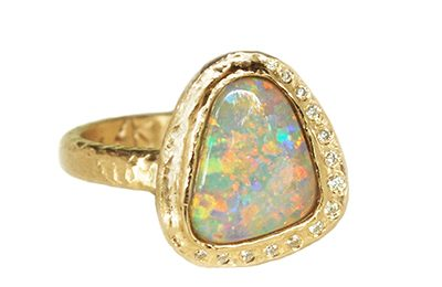 custom opal and diamonds ring