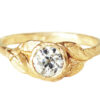 nature-inspired organic golden leaves diamond solitaire