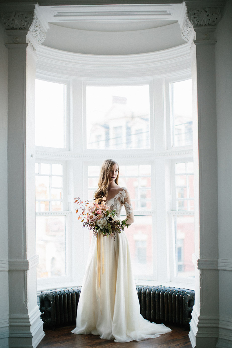 boho bride in great white hall, Toronto, Canada
