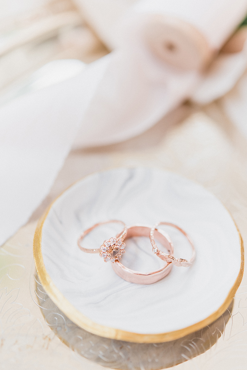 Wedding Ring set, rose gold bands