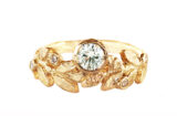 nature inspired gold leaves with diamond ring