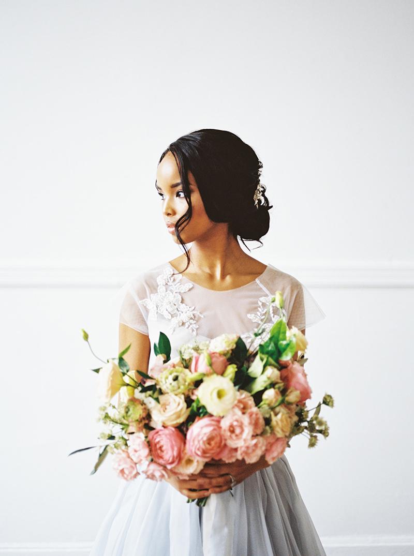 Romantic bride with flowers