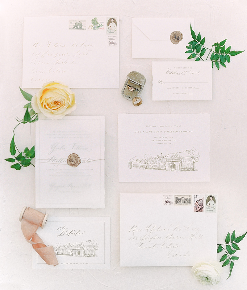 wedding style inspiration with calligraphy and diamond engagement ring