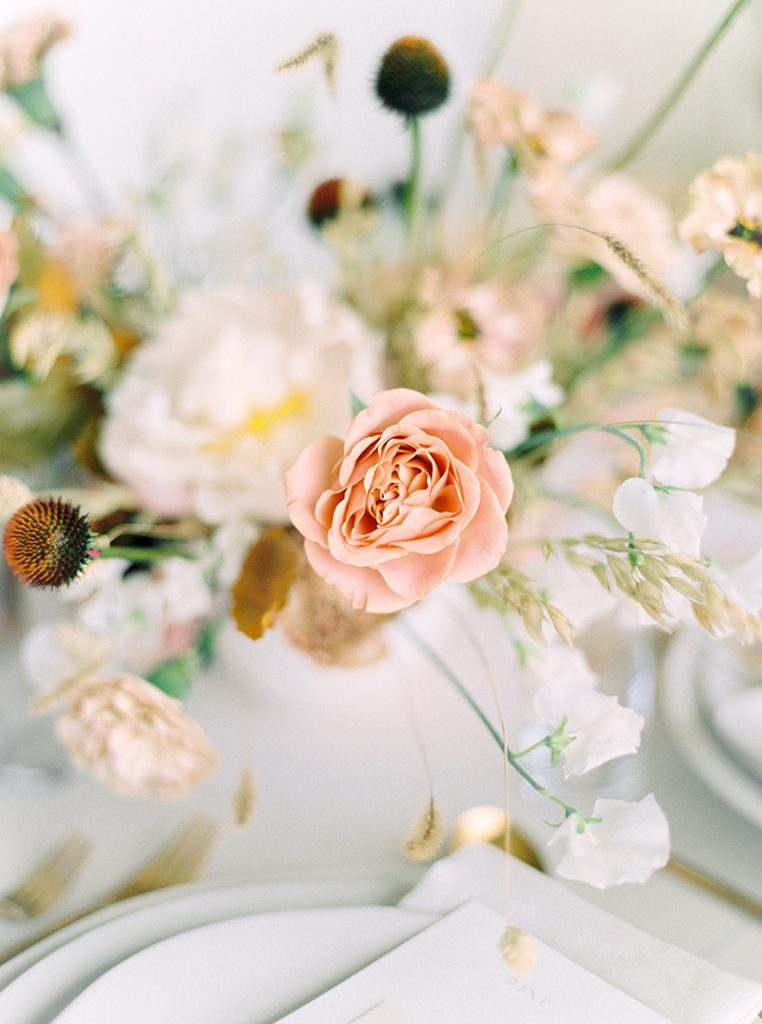 soft romantic warm colour flowers for wedding