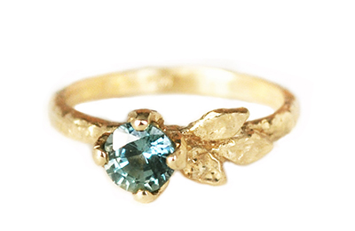 Nature inspired teal sapphire golden leaves engagement ring