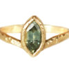 Green sapphire marquise engagement ring