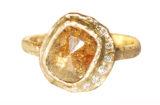 custom raw yellow diamond halo engagement ring