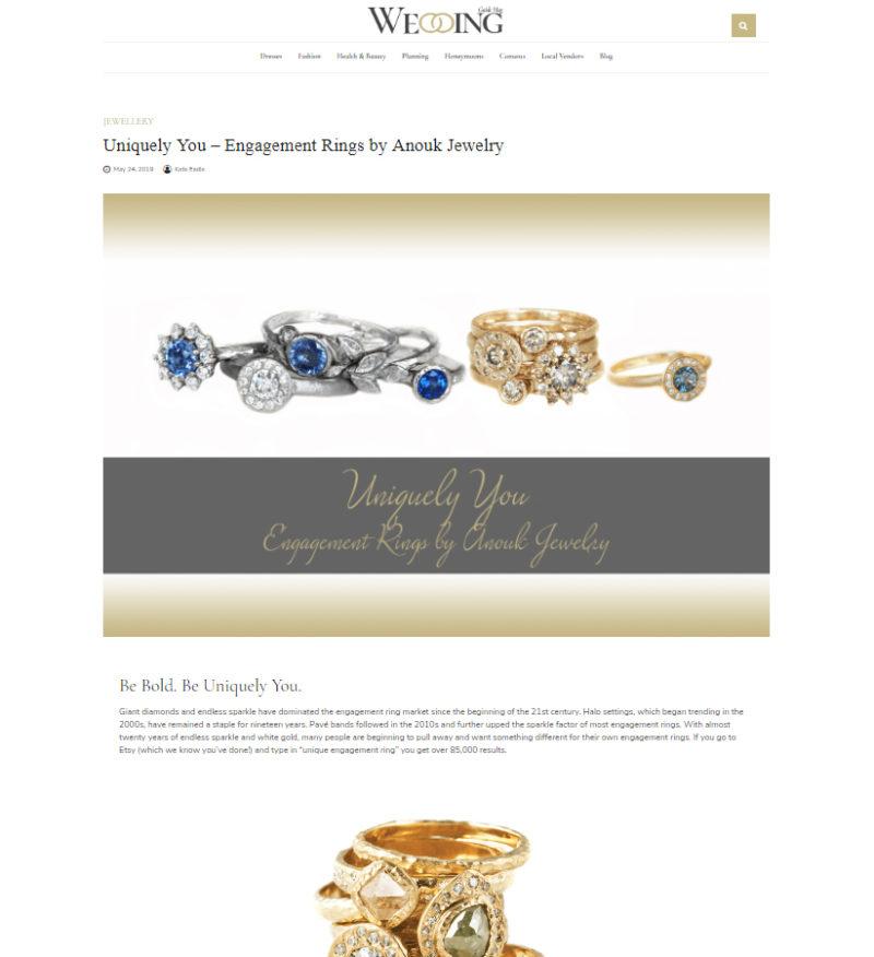 Anouk Jewelry interview with Wedding Magazine, May 2019