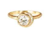Celestial halo boho diamond engagement ring made in Toronto